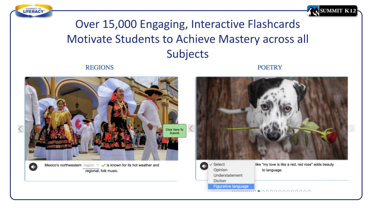 Interactive vocabulary flashcards