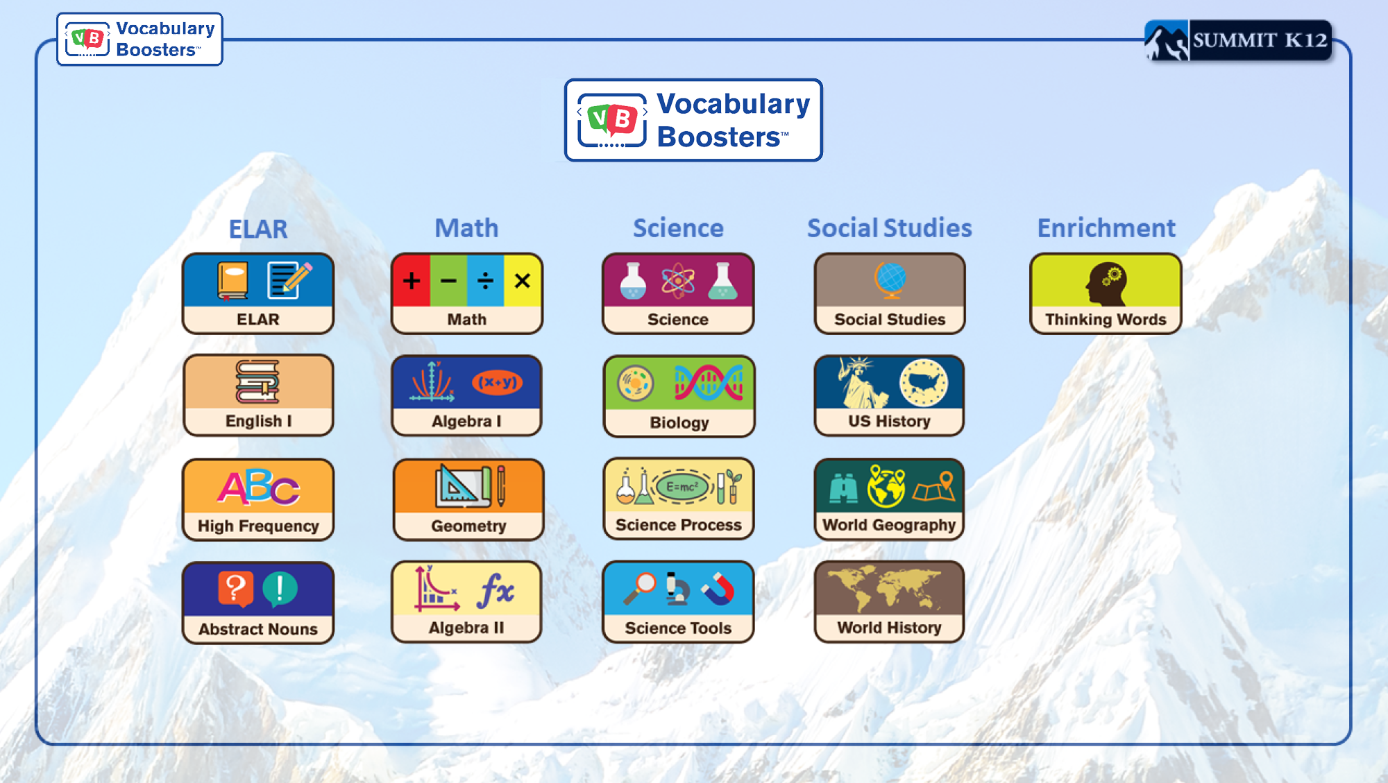 Vocabulary Boosters Subjects